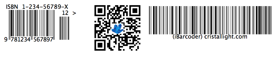 barcodes generated by iBarcoder