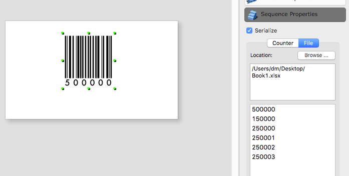 iBarcoder: Print Sequential Labels on Given Positions