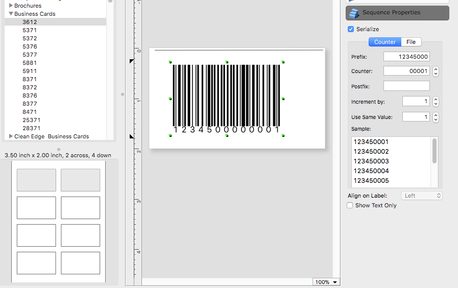 iBarcoder: Print Sequential Labels at Given Positions